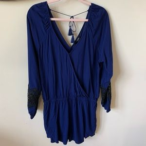 NWT! Express blue woven crossfront romper #1511